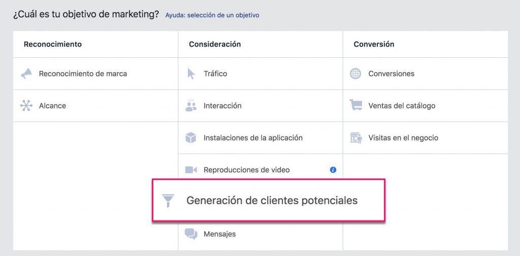 Objetivos de Facebook_Clientes potenciales